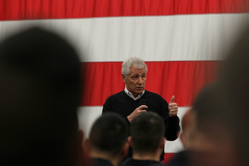 Secretary of Defense Chuck Hagel visited sailors aboard the USS America on Wednesday, January 14, 2015 as part of his farewell tour.  He is leaving the president's cabinet as soon as a replacement is named.