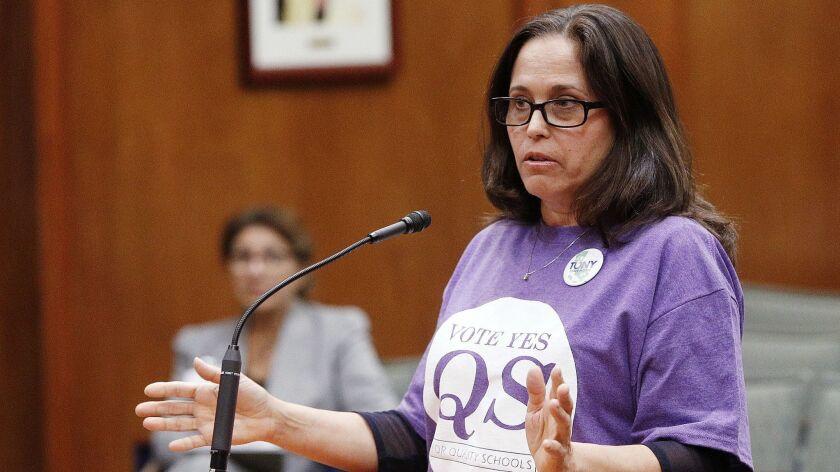 Burbank High School teacher Lori Adams speaks in favor of Measure QS at the Burbank Unified School D