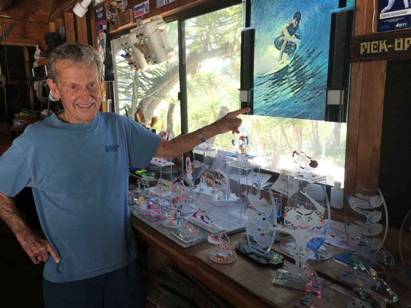 Rancho Santa Fe resident Chuck Bahde shows some of the smaller sculptures he's been working recently, to add to a body of work that he has been putting together for more than two decades.