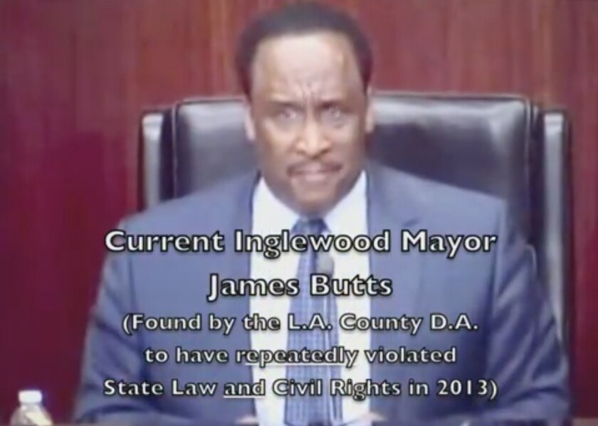 Inglewood Mayor James T. Butts Jr. in a YouTube video, by resident Joseph Teixeira, that is critical of the traffic measures implemented to safely whisk concert-goers from the Forum to nearby freeways.