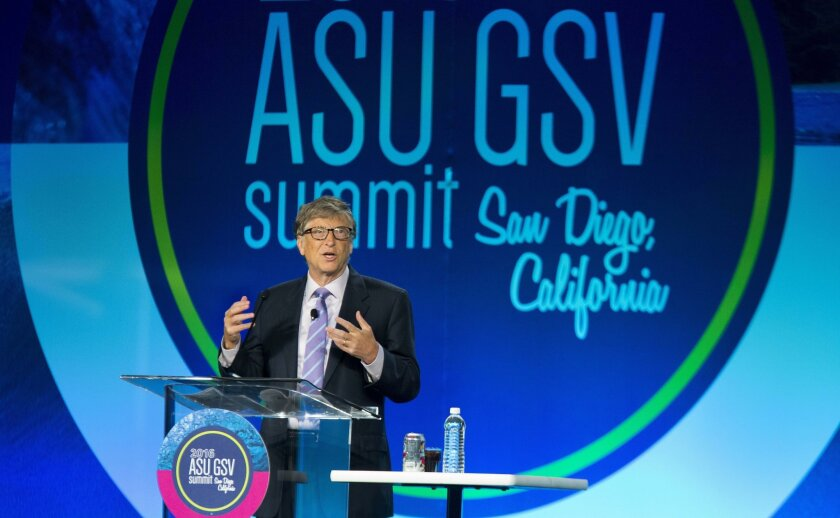 SAN DIEGO, CA-April 20, 2016: | Bill Gates, co-chair of the Bill & Melinda Gates Foundation, and the co-founder of Microsoft, speaks at the 7th Annual ASU GSV Summit held at the Manchester Grand Hyatt Hotel. The summit brings together educators, tech companies, startups, and venture capitalists.