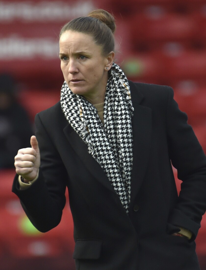 """FILE - Manchester United manager Casey Stoney gestures during the English Women's Super League soccer match between Aston Villa and Manchester United at the Bank's Stadium in Walsall, England, in this Saturday, Dec. 5, 2020, file photo. Stoney has been hired as the new head coach of the National Women's Soccer League's expansion team in San Diego. Jill Ellis, who won a pair of World Cups as coach of the U.S. national team, is the San Diego team's president. """"Jill and this ownership group are deeply committed to building a world-class club both on and off the field and I look forward to being a part of creating our culture and style of play as a team, Stoney said in a statement on Wednesday, July 14, 2021. (AP Photo/Rui Vieira)"""