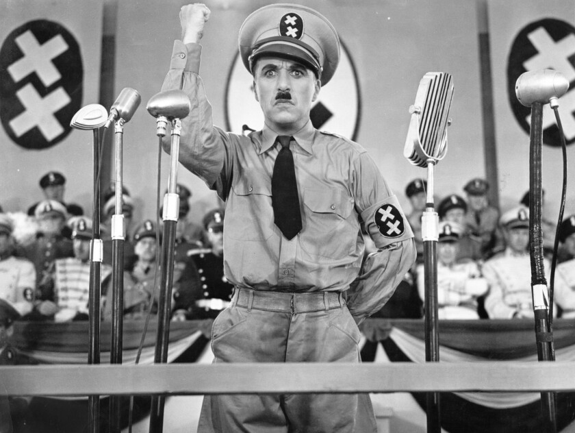 "A photo from Charlie Chaplin's 1940 send-up of Adolf Hitler, ""The Great Dictator."" The film was one of many that have been banned in countries around the world for political reasons."