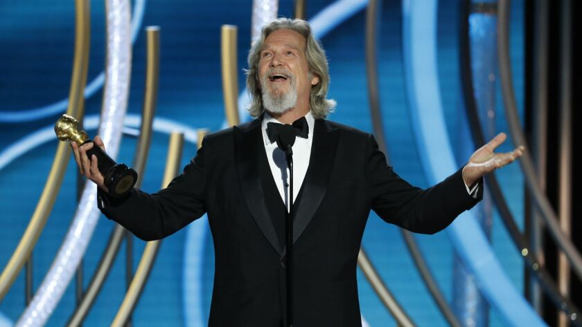 This image released by NBC shows Jeff Bridges accepting the Cecil B. Demille Award during the 76th A