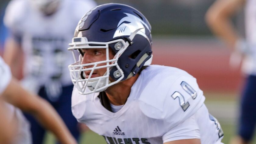 San Marcos' Quinn Roff will try to add to his sack total against Mission Hills.