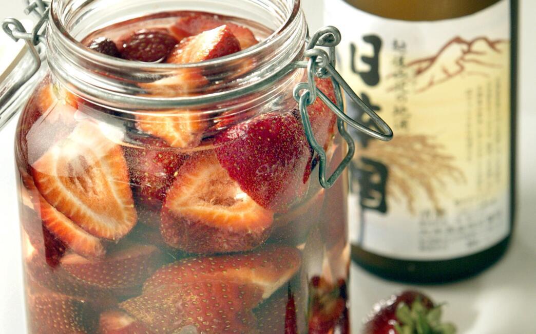 Strawberry- infused sake