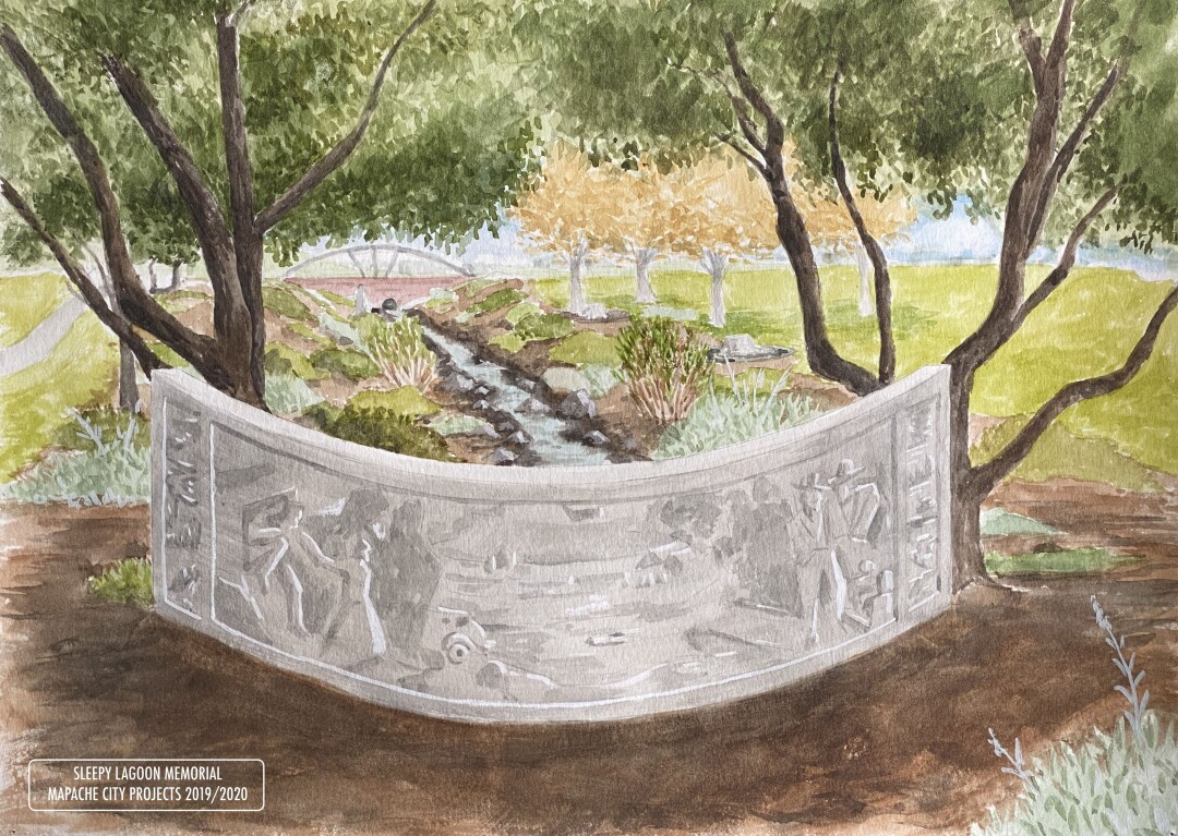 A rendering for a memorial to Sleepy Lagoon shows a garden and a panel honoring Chicano youths of the '40s