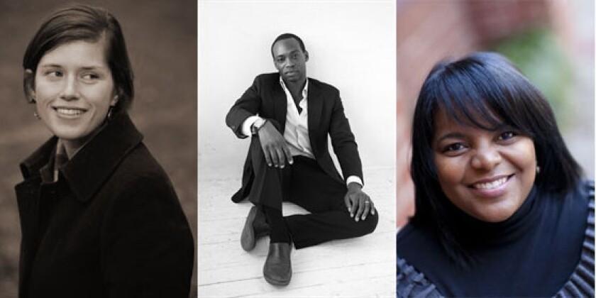 Three 2013 Whiting Writers' Award winners: Jennifer DuBois, Rowan Ricardo Phillips and Stephanie Powell Watts.
