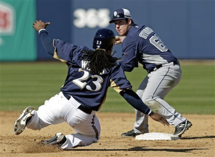 San Diego Padres second baseman Jedd Gyorko (68) turns a double play as Milwaukee Brewers' Rickie Weeks slides into second during the fifth inning of an exhibition spring training baseball game Monday, Feb. 25, 2013, in Phoenix. (AP Photo/Morry Gash)
