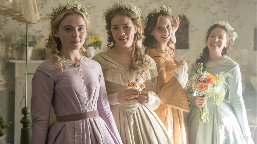 Little Women MASTERPIECE on PBS Shown (Left-Right): Kathryn Newton as Amy, Willa Fitzgerald as Meg,