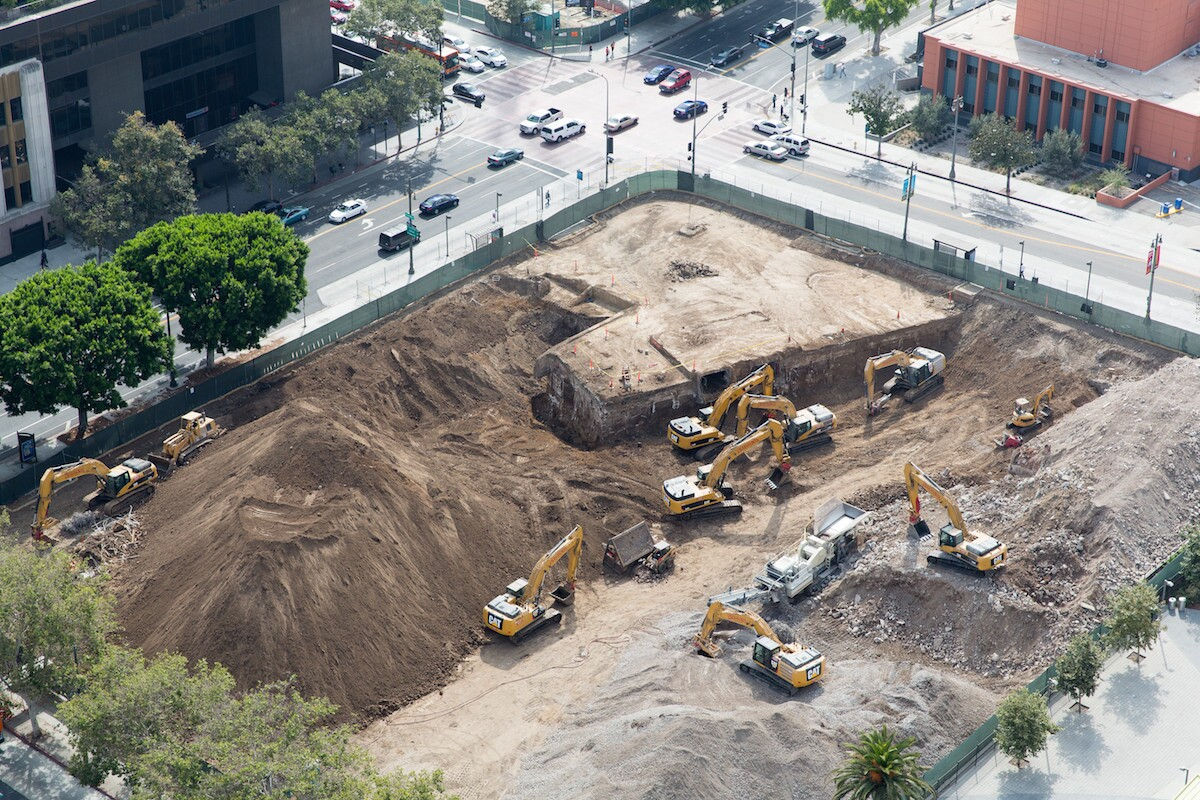 A closer aerial look at what might be the subterranean ruins of the old L.A. Times Building. Demolition crews already had knocked down much of what is pictured by Monday.