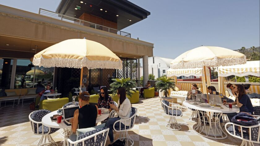 LOS ANGELES, CALIFORNIA--APRIL 24, 2019--The outdoor patio at the newly opened Wing Los Angeles. The