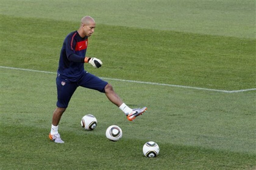 U.S. national soccer team goalkeeper Tim Howard trains at Pilditch Stadium in Pretoria, South Africa Friday, June 4, 2010. The U.S. team is preparing for the upcoming World Cup, where it will play in Group C. (AP Photo/Elise Amendola)