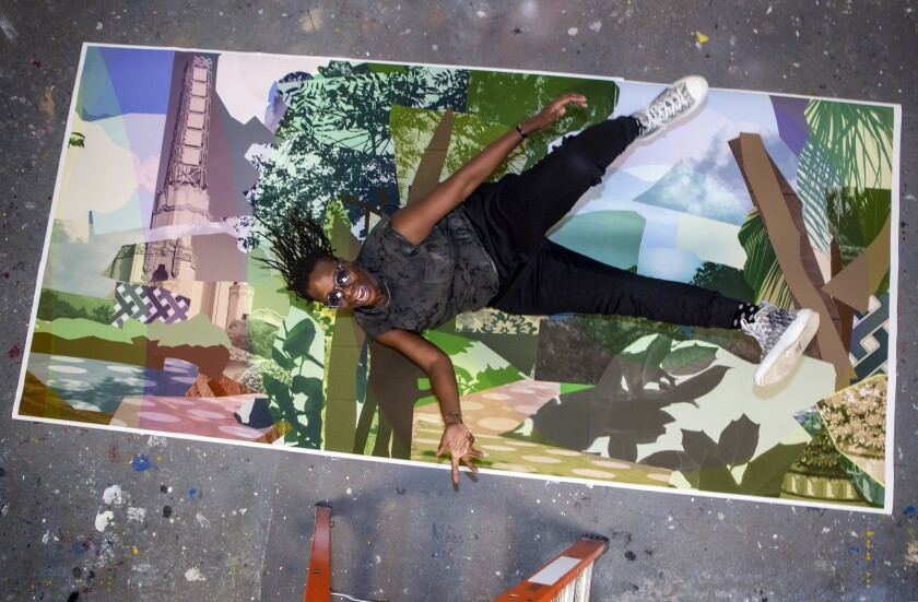 Mickalene Thomas with artwork that will be at one of the stations on Metro's Crenshaw/LAX line set to open next year.
