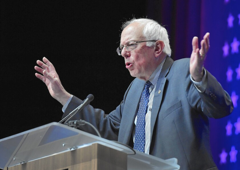 Democratic presidential candidate Sen. Bernie Sanders addresses Latino officials in Las Vegas. After drawing heat from some Latino pundits for not talking enough about immigration, Sanders addressed the issue head-on in the Las Vegas speech.