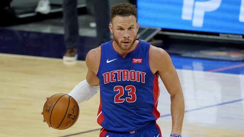 Detroit Pistons forward Blake Griffin dribbles during a game