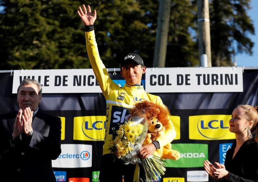 El corredor colombianor Egan Bernal Gomez, del Team Skyen el Col de Turini, Francia, Niza) EFE/EPA