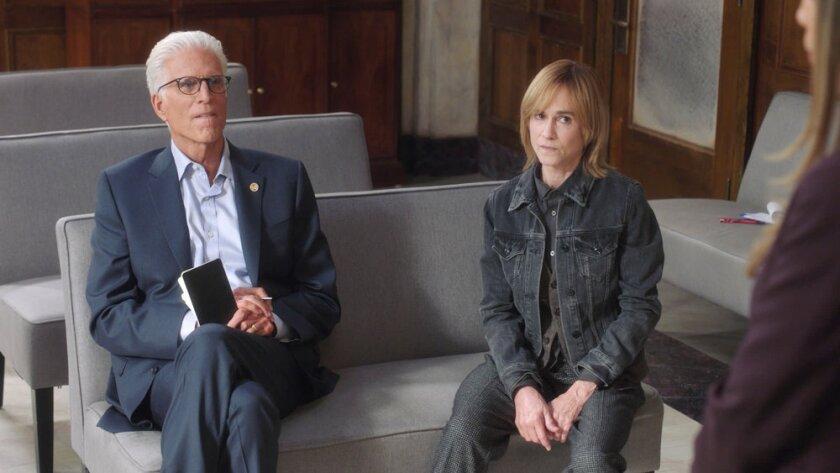 "Ted Danson as Mayor Neil Bremer, Holly Hunter as Arpi in ""Mr. Mayor."""