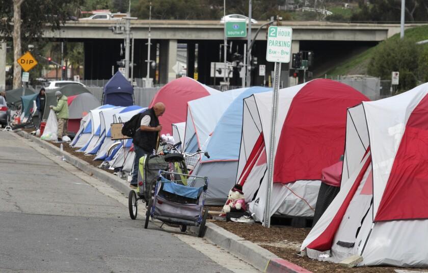 The homeless encampment on South Oceanside Boulevard in March.