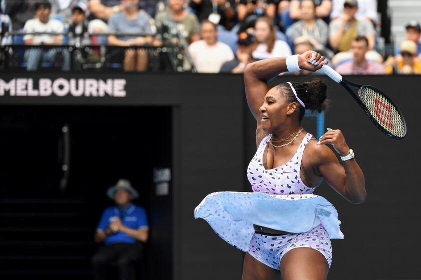 Serena Williams hits a return to Anastasia Potapova during their women's singles match on Jan. 20 at the Australian Open.
