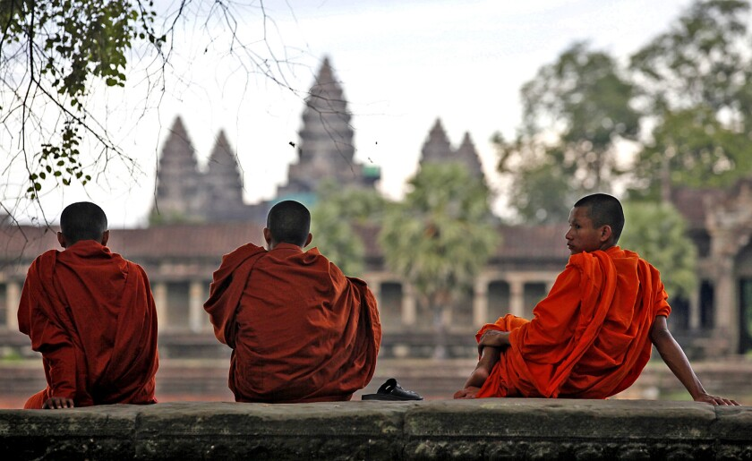 Monks at Angkor Wat in Siem Reap province, Cambodia.