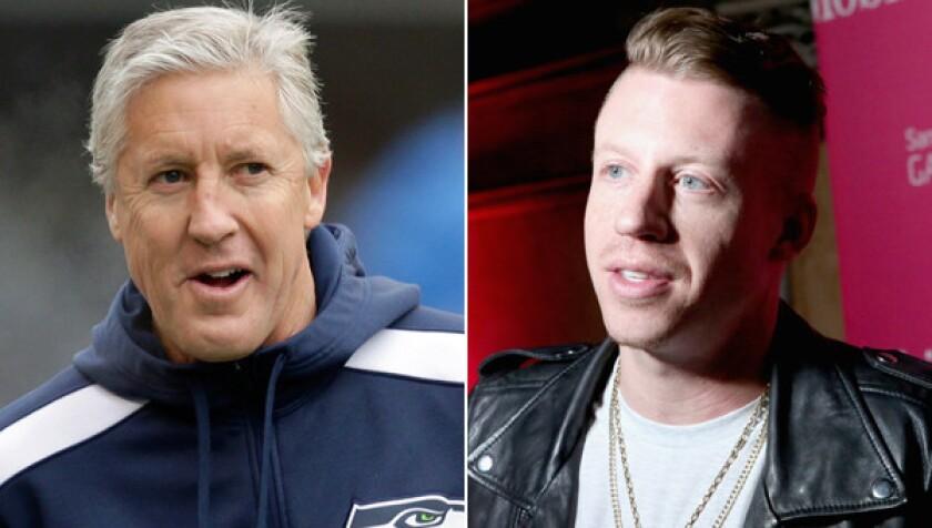 Seattle Seahawks Coach Pete Carroll, left, is a big fan of recording artist Macklemore, right, who's an avid Seahawks fan.