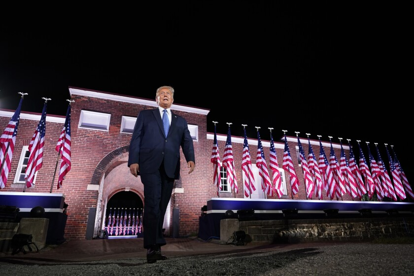 Trump walks to the stage Wednesday at the Republican National Convention.