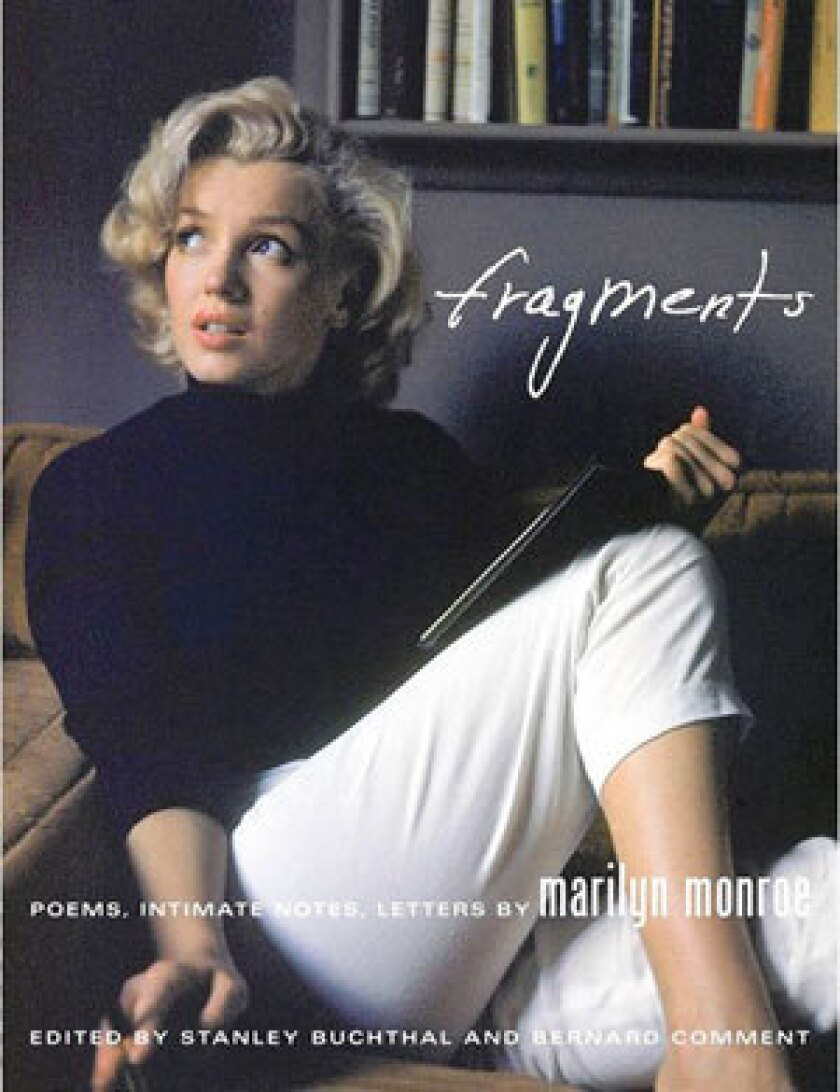 """The cover Jacket from the book """"Fragments: Poems, Intimate Notes, Letters by Marilyn Monroe."""""""