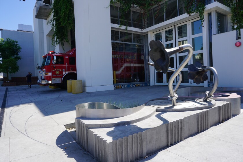 Public artwork of metal flowers outside Fire Station 2 was completed  in 2018.