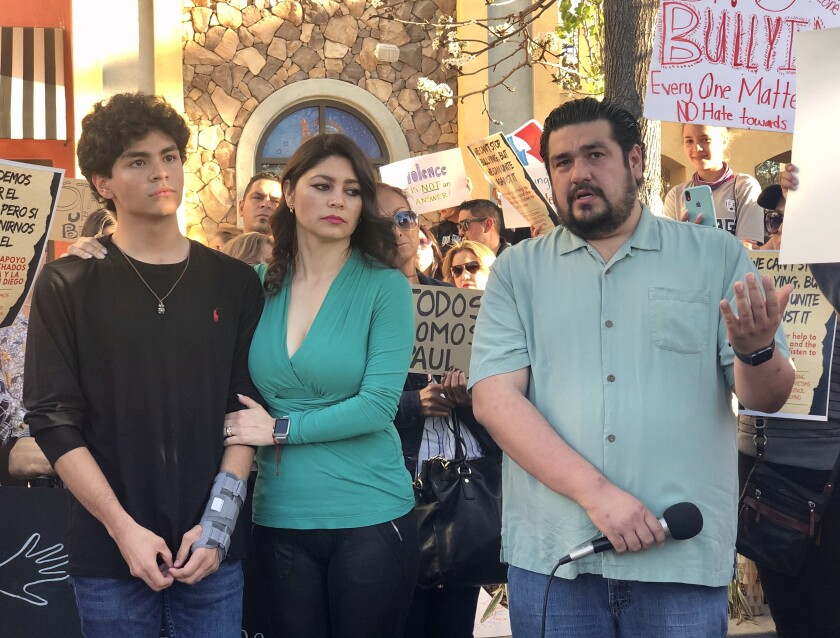 Paul, Laura and Margarito Martin, express their gratitude on a community meeting on April 17, 2019, days after Paul was attacked by a group.