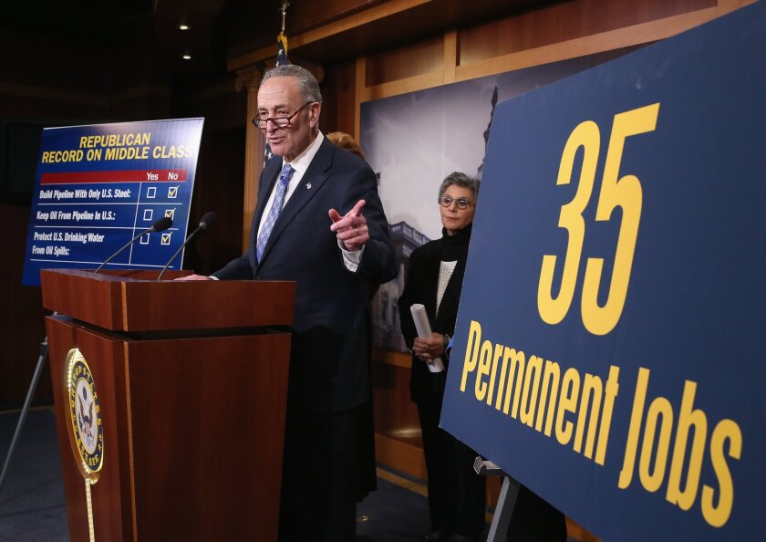 Sen. Chuck Schumer (D-N.Y.) discusses the proposed Keystone XL pipeline during a news conference last week at the Capitol in Washington.