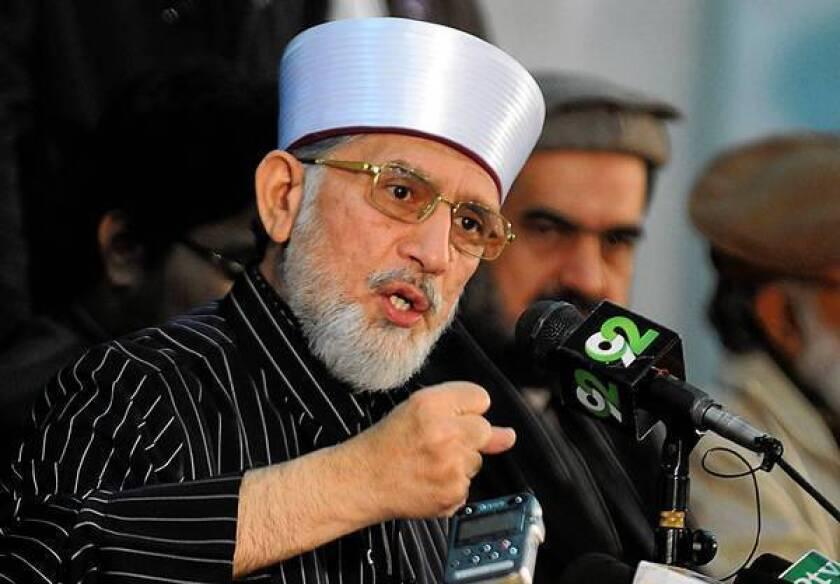 Tahirul Qadri, a prominent religious scholar in Pakistan, announces his plans for a massive protest march.