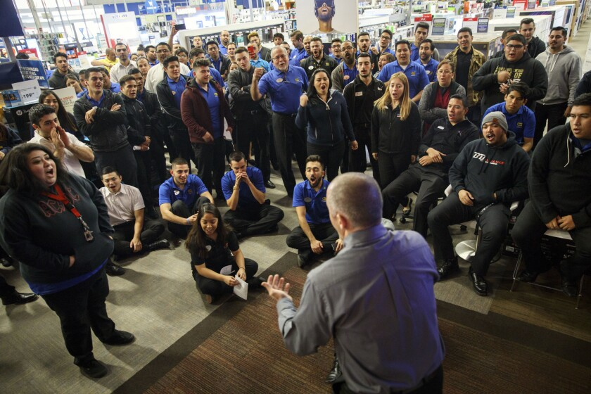 Inside a Best Buy Inc Store Employee Training Prior to Black Friday Sale
