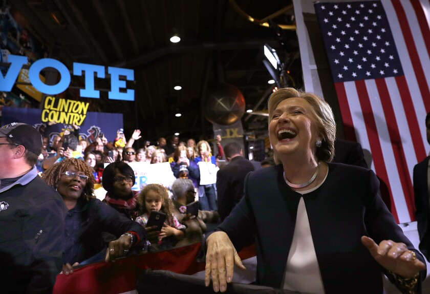 Democratic presidential nominee Hillary Clinton greets supporters during a Nov. 4 campaign rally in Pittsburgh.