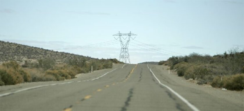 A view of the proposed Sunrise Powerlink route from the Imperial Valley to San Diego. (John Gastaldo / Union-Tribune)