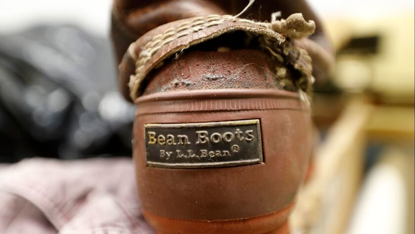 In this Friday, Feb. 2, 2018 photo a Bean Boot is seen in the return bin at L.L. Bean retail store i