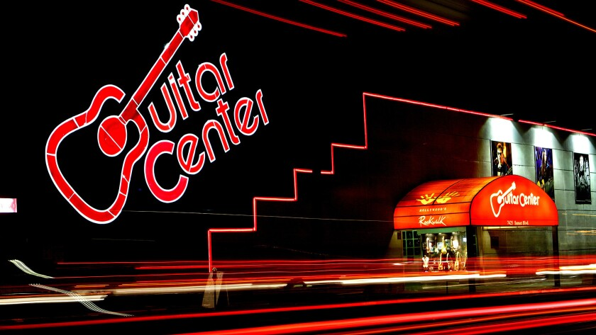 The Guitar Center on Sunset Boulevard in Hollywood is the flagship store of the country's largest music retailer.