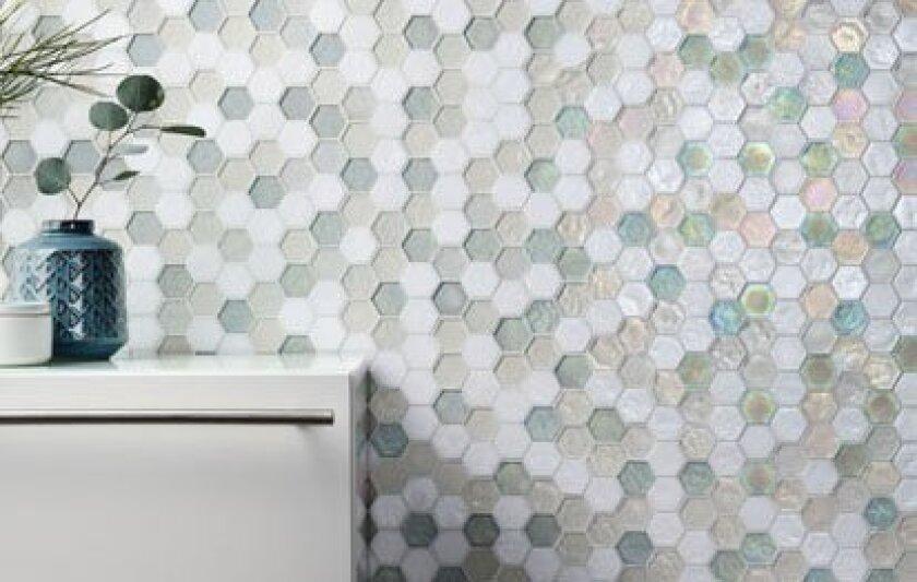 Oceanside Glasstile's Muse Hexagon pattern in Atmosphere Blend.