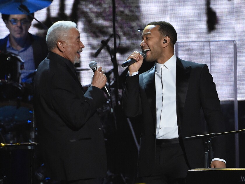 Inductee Bill Withers, left, performs with John Legend at the Rock and Roll Hall of in Cleveland.
