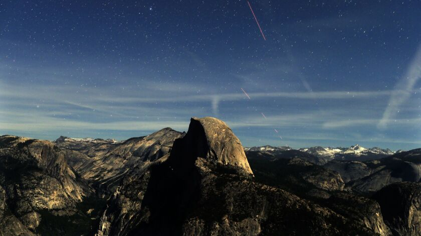 YOSEMITE, CA., MAY 20, 2013: Lit by a very bright half moon, night becomes day during this 30-second