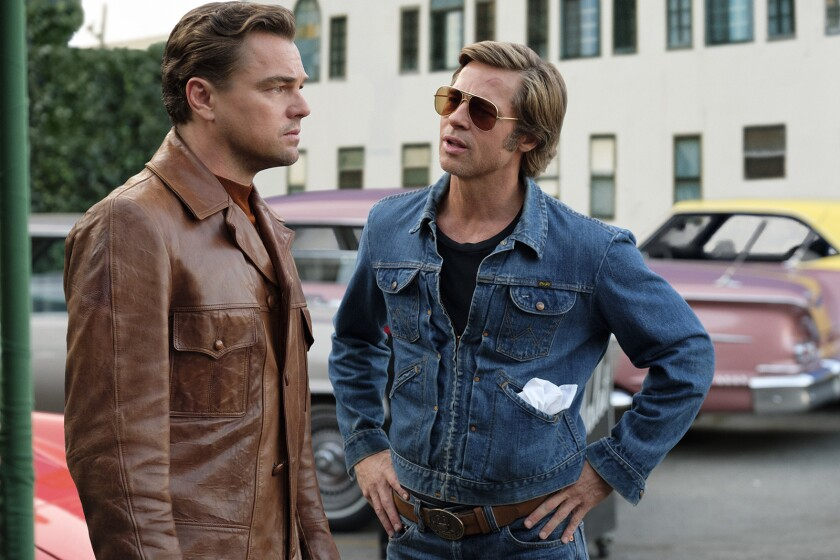 "Leonardo DiCaprio, left,  and Brad Pitt in a scene from ""Once Upon a Time ... in Hollywood."""
