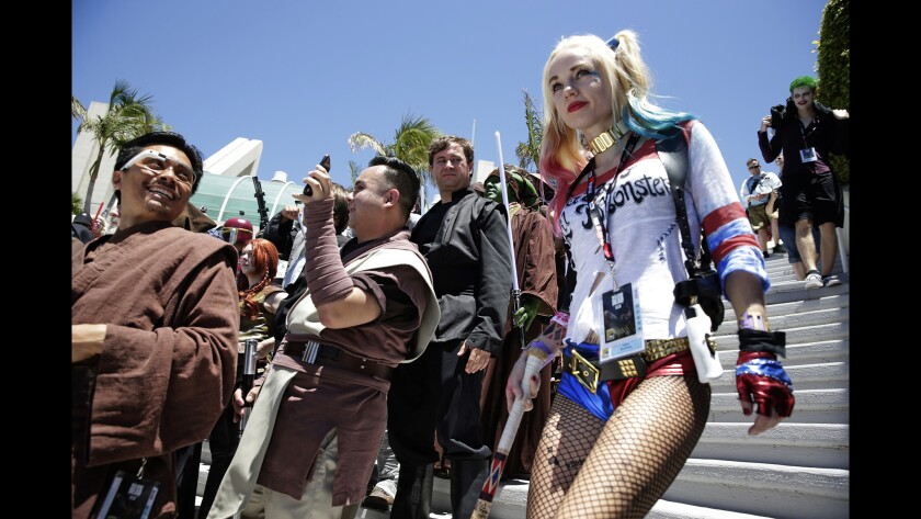 Quinn cosplay: Hayley Blumberg as Harley Quinn during day two of Comic-Con 2016.