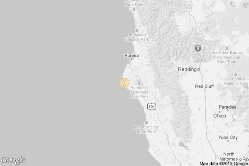 A map shows the approximate location of the epicenter of Saturday morning's quake near Rio Dell.