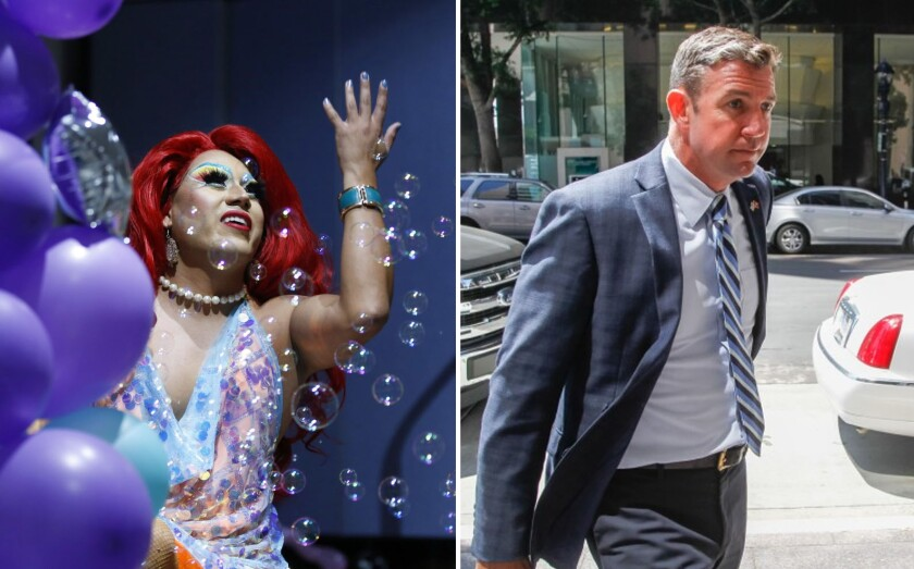 """On the left, Raquelita, a drag queen, sings a song from """"The Little Mermaid"""" during storytime at the Chula Vista Civic Center Library on Tuesday. On the right, Rep. Duncan Hunter, R-Alpine, in 2019."""