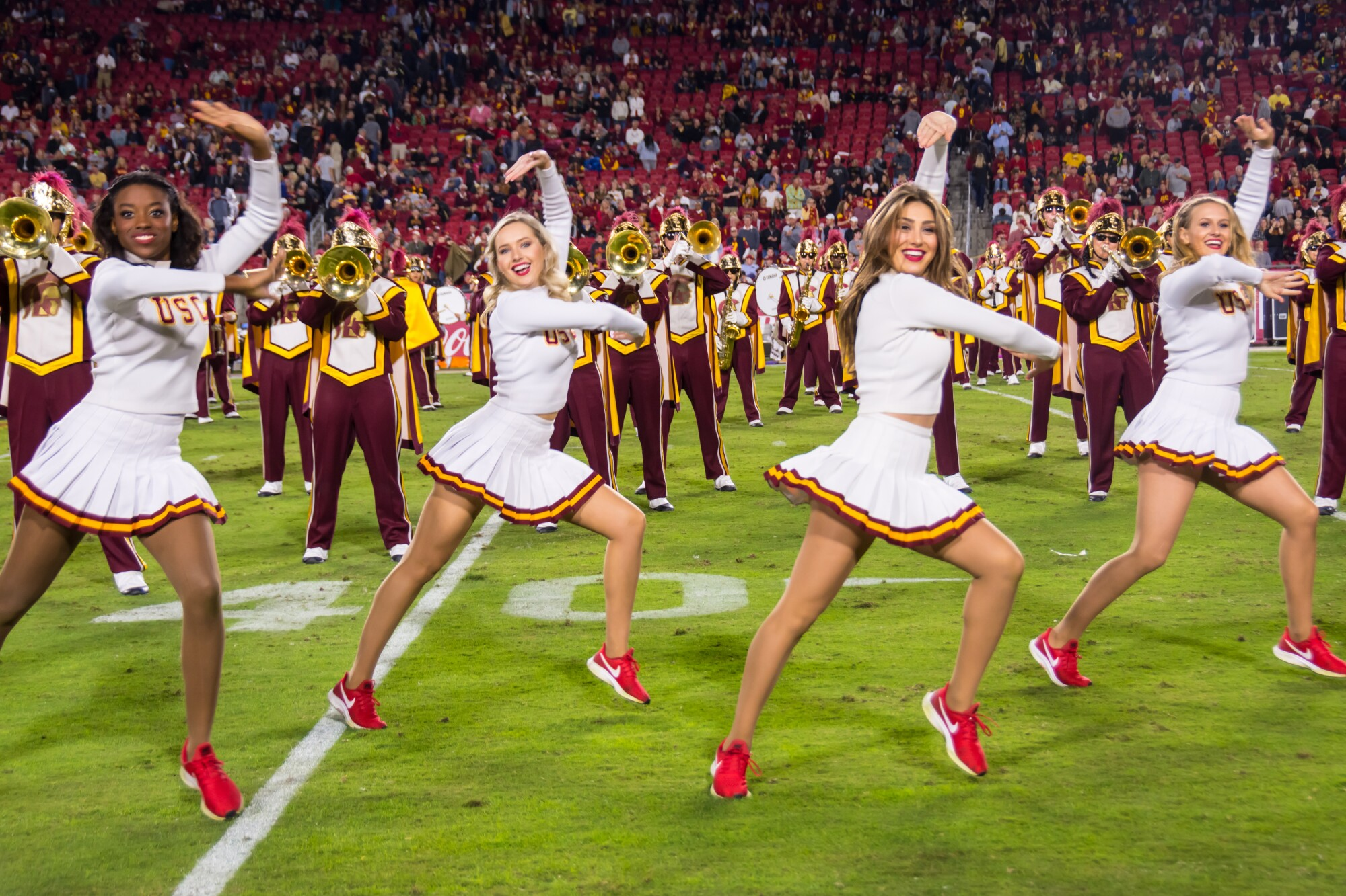 USC song girls including Adrianna Robakowski and Josie Bullen  during a game