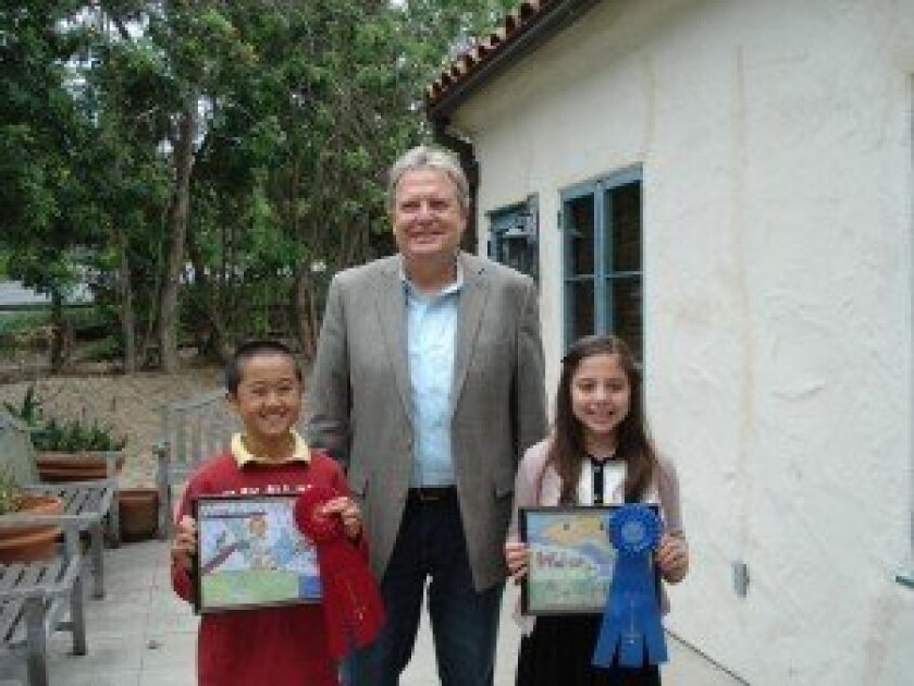 2013 Water For Life Poster Contest Winners: Left to right: Second Place Winner Michael Chang, Santa Fe Irrigation District Board President Michael Hogan, First Place Winner Sofia Vitale