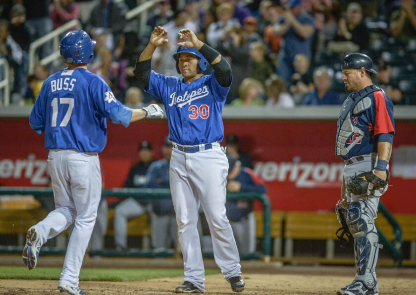 Miguel Olivo (30) of Albuquerque congratulates Nick Buss after Buss' homer against the Tacoma Rainiers.