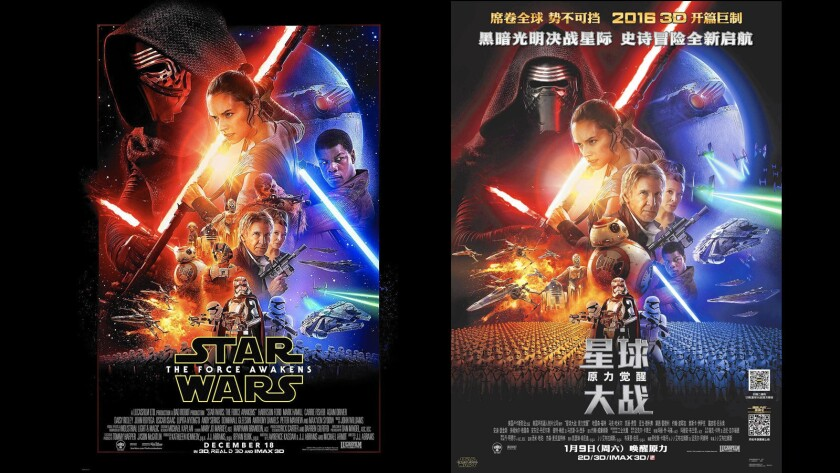 """Advertising for foreign markets can take twists, such as shrinking the face of John Boyega, who played a lead """"Star Wars"""" character, for a Chinese poster, right."""