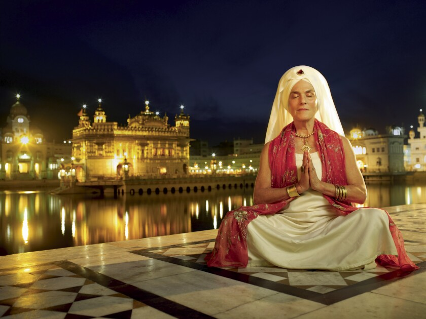 Gurmukh Kaur Khalsa at her most holy of places, the Golden Temple, in Amritsar, India, on Feb. 23, 2006.