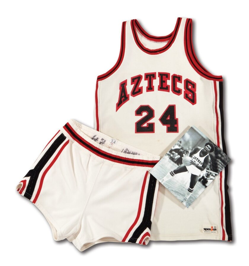 Before baseball there was basketball: Tony Gwynn's old Aztecs uniform sold at auction for $11,858 in an online auction that closed April 25, 2015.